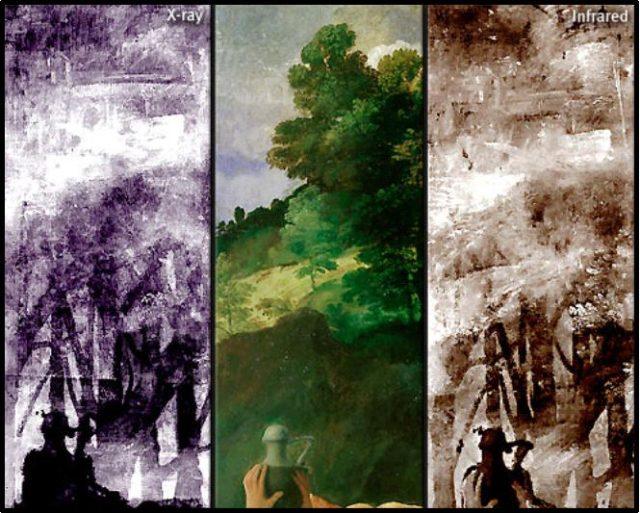 Imagen 3. De izquierda a derecha radiografia, fotografía y reflectograma de la parte superior izquierda de la pintura.