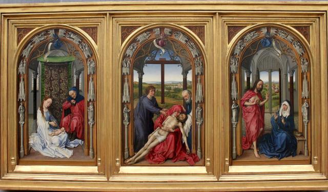 Imagen 3. Tríptico de Miraflores (71x43cm cada panel) por Roger van der Weyden (hacia 1440). Fuente: https://commons.wikimedia.org/wiki/File:Rogier_van_der_Weyden_-_The_Altar_of_Our_Lady_(Miraflores_Altar)_-_Google_Art_Project.jpg