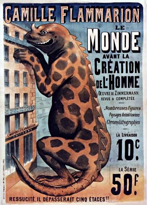 [Imagen 1] Cartel publicitario del libro Le monde avant la creátion de l'Homme, de Camille Flammarion (1886)
