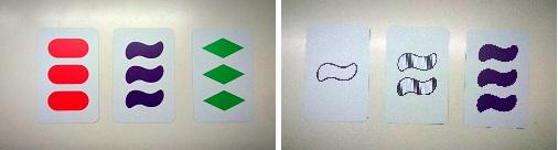 Dos ejemplos de grupos de tres cartas formando un SET