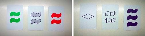 Dos ejemplos de grupos de tres cartas que no forman un SET