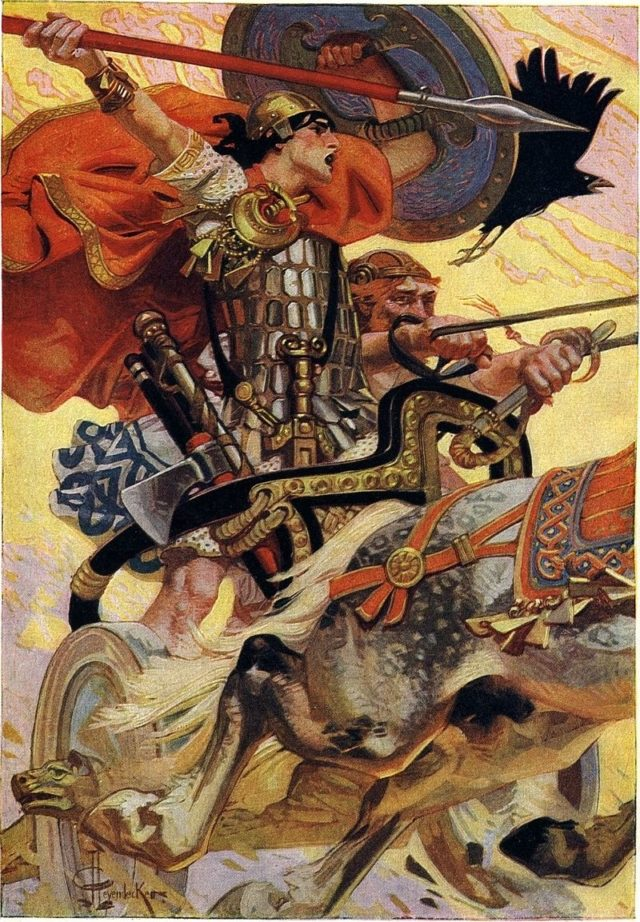 CúChulainn montando su carro en la batalla, ilustración de J. C. Leyendecker, del libro Myths & Legends of the Celtic Race (1911), de T. W. Rolleston
