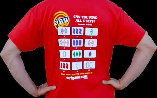La empresa SET Enterprises ha comercializado camisetas con 12 cartas del juego sobre las que hay que buscar los 6 SETs
