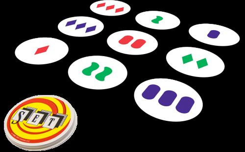 La empresa SET Enterprises ha comercializado una versión mini para viaje, que consiste en las 27 cartas que se obtienen al considerar solo tres características, color, número y forma