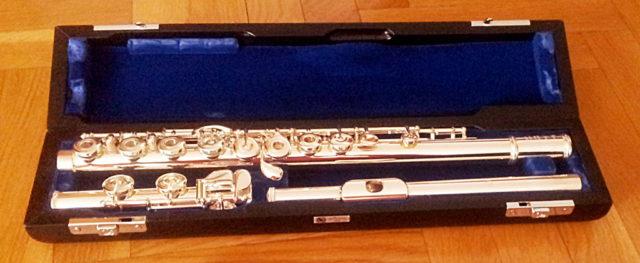 Flauta moderna en su estuche (con pata de do, mecanismo de mi partido, llave de sol desalineada, platos abiertos). Fuente: el autor.