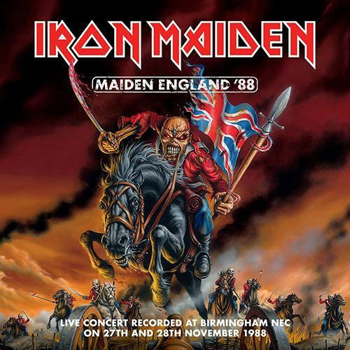 Portada del video Maiden England'88 (2013), correspondiente a la gira The Seventh Tour of a Seventh Tour, en la que Eddie, montado a caballo, porta una bandera británica