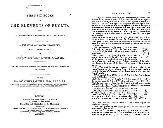 Portada de la edición de 1848 de Dioysius Lardner de The First Six Books of the Elements of Euclid, y página 87 que incluye el resultado (306), hoy conocido como el teorema de la bandera británica