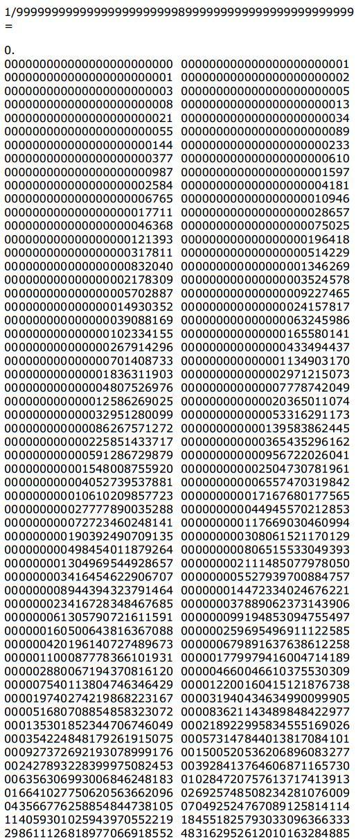 Los números (y los inversos) de Fibonacci
