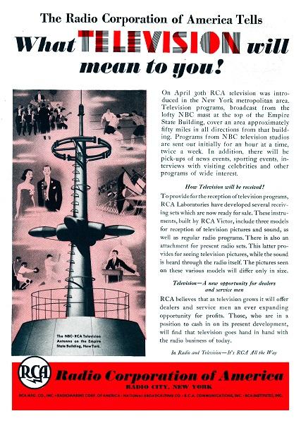Anuncio de RCA para la implantación de la televisión en Nueva York (1939)