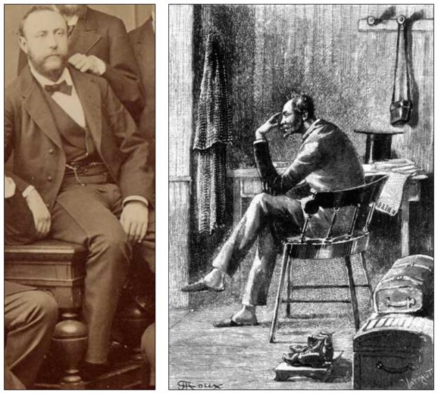 Albert Badoureau (fotografía tomada en 1877) y Alcide Pierdeux (dibujo de George Roux).