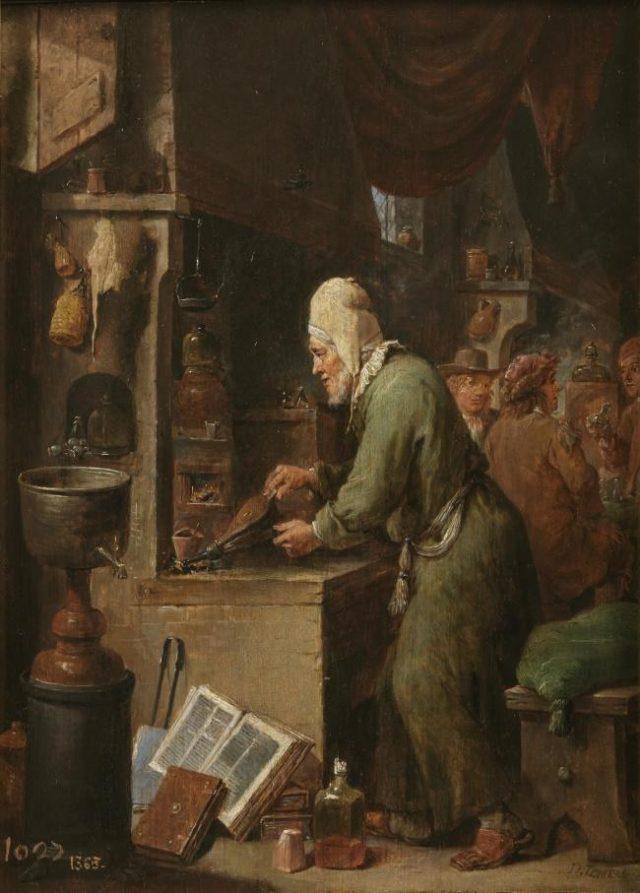 Figura 1. El alquimista (32x25 cm) de David Teniers (1631 – 1640).