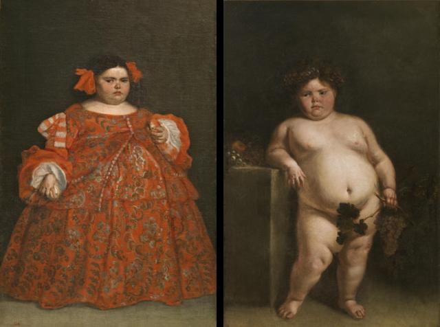 Figura 5. La monstrua vestida (165x107 cm) y La monstrua desnuda (165x108 cm) de Juan Carreño de Miranda (ca. 1680). Fuente: Museo del Prado