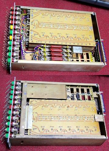 El ordenador analógico GTE EA-22, construido en Alemania a finales de la década de 1960 y principios de 1970, contaba con un multiplicador doble, como el que se muestra en la imagen, que funcionaba utilizando la fórmula de los cuartos de cuadrados