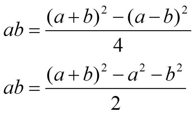 Identidades algebraicas para el producto de dos números