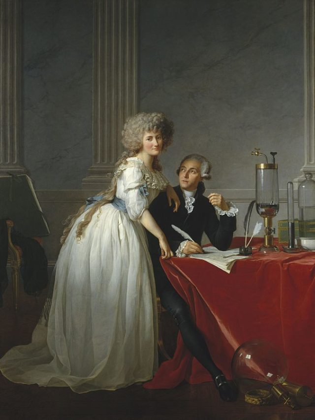 Lavoisier juanto a su ayudante (y esposa) Marie-Anne Pierrette Paulze