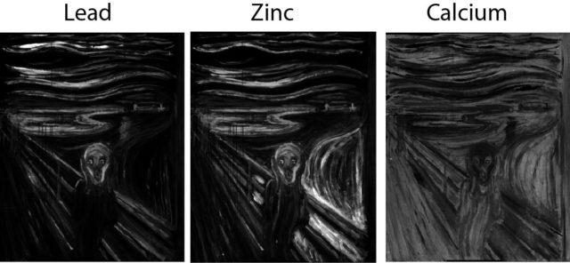 Figura 2. Imágenes de fluorescencia de rayos X en busca de compuestos conocidos de color blanco. De izquierda a derecha las imágenes correspondientes al estudio del plomo, zinc y calcio. Ninguno de estos elementos se detectó en el punto en el que se encuentra la mancha blanca.