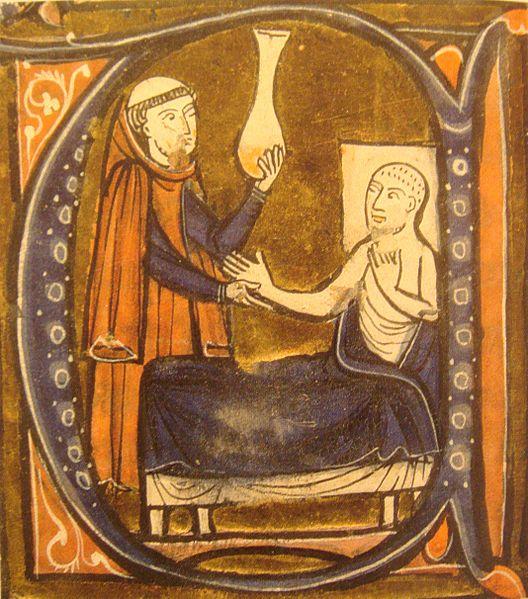 Al Razi analizando la orina de un enfermo según Gerardus Cremonensis (s. XIII)