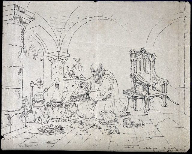 Roger Bacon como alquimista. Grabado de 1845.