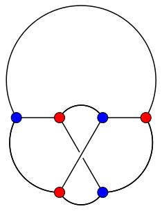 Representación de K3,3 con un único cruce.