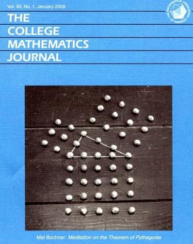 """Portada de enero de 2009 de la revista """"The College Mathematical Journal"""", con la imagen de la obra """"Meditaciones sobre el Teorema de Pitágoras"""" (1972), del artista Mel Bochner"""