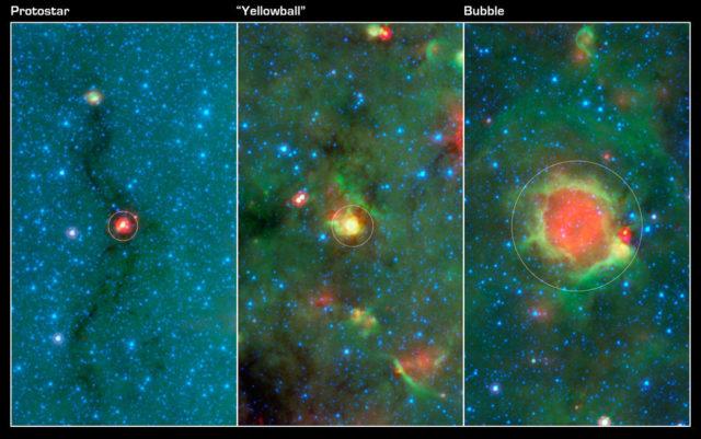 Imágenes tomadas en el infrarrojo por el telescopio Spitzer de NASA en las que se ve la evolución de la formación de estrellas masivas.