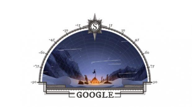 Doodle conmemorativo del 125 aniversario de la conquista del Polo Sur