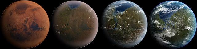 Fases de una posible terraformación de Marte. Fuente: Ittiz/Wikimedia Commons