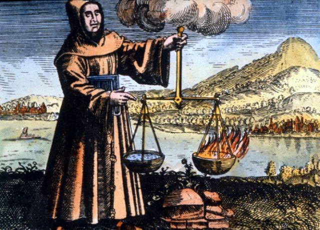 """Roger Bacon alquimista, tal y como se le representa en """"Symbola aureae mensae duodecim nationum"""" (1617) de Michael Maier"""