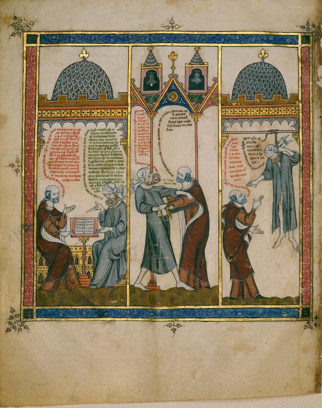 Llull aprendiendo el árabe con su esclavo musulmán.
