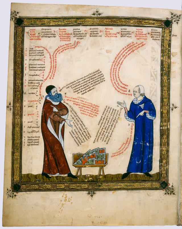 Llull argumentando según. Nótese el uso de las letras como símbolos lógicos.