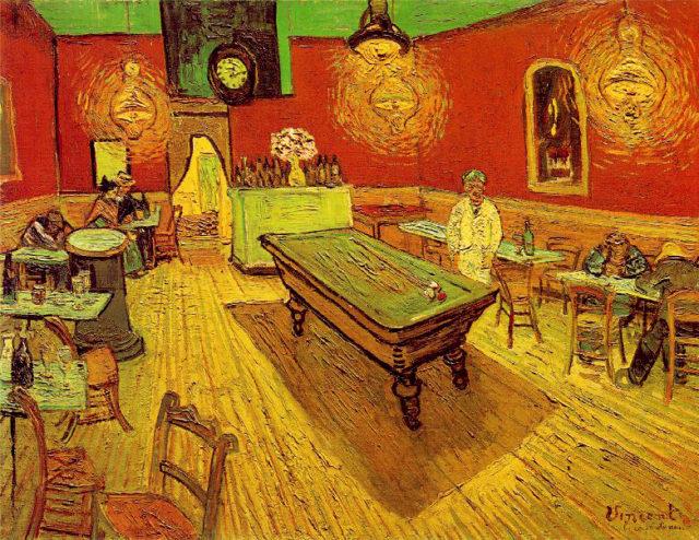 """[Imagen 1] [""""El café de noche"""" (72x92 cm) de Vincent van Gogh (1888)] [https://es.wikipedia.org/wiki/El_caf%C3%A9_de_noche#/media/File:Vincent_Willem_van_Gogh_076.jpg]"""