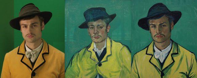 Imagen 2] [De izquierda a derecha: Douglas Booth durante el rodaje de Loving Vincent, Retrato de Armand Roulin (65x54 cm) de Vincent van Gogh (1888) y resultado final del fotograma de la película Loving Vincent] [Twitter de @lovingvincent: https://pbs.twimg.com/media/CymT2rBW8AAcNBc.jpg:large
