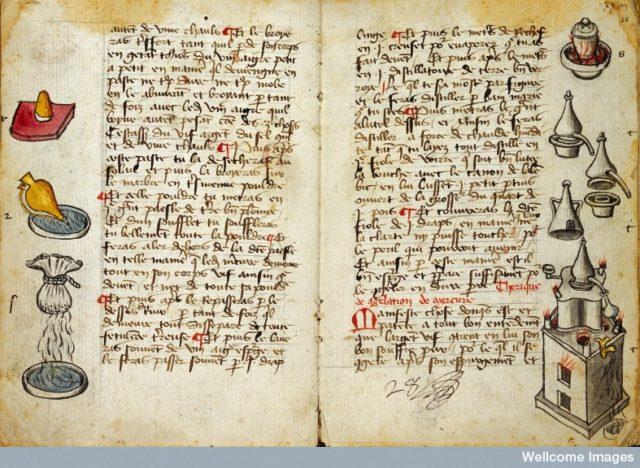"""Recetas de R. Lullius (atribuido) en el """"Ymage de Vie"""", finales del siglo XV. Fuente: Wellcome Library, London."""