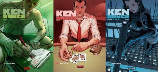 """Portadas de los tres volúmenes del cómic """"Ken Games"""" (2009-10), de José Robledo (guión) y Marcial Toledano (dibujos)"""