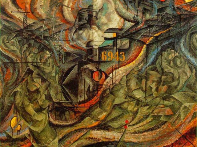 """""""Estados de ánimo, las despedidas"""" (1911), óleo sobre lienzo, de Umberto Boccioni, en el MoMA de Nueva York"""