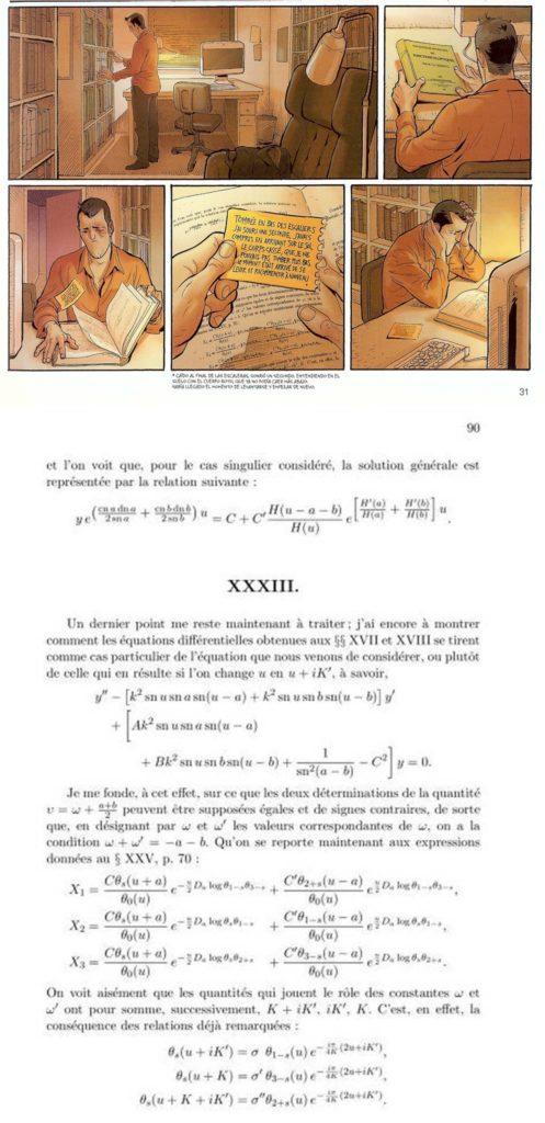 """Viñetas de """"Ken Games"""" en las que TJ coge el libro de Hermite y lo abre, así como la página del libro matemático que aparece"""