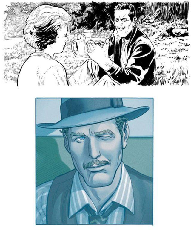 """Fotogramas de """"El Buscavidas"""" (en blanco y negro) y """"El Golpe"""", interpretadas por Paul Newman, en el cómic """"Ken Games"""""""