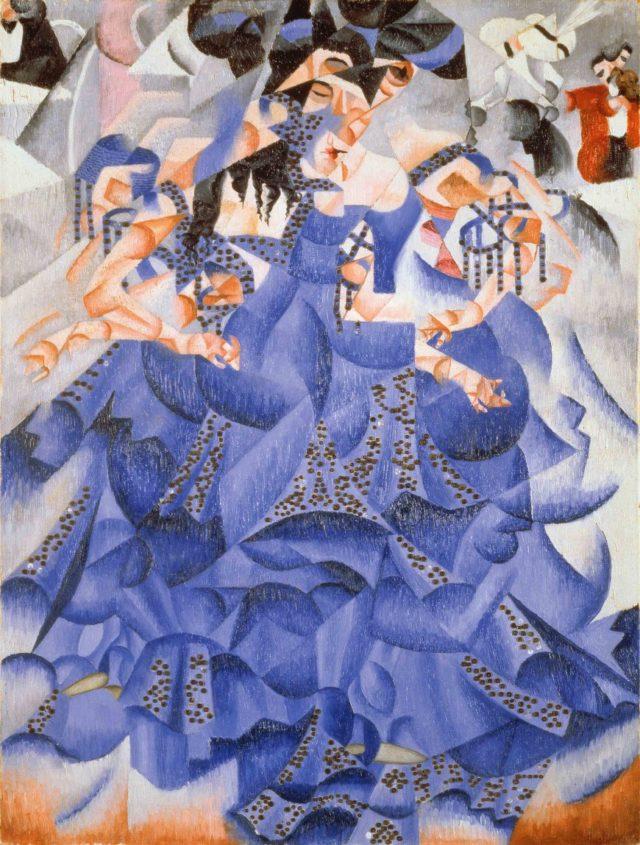 """""""Bailarina azul"""" (1912), óleo sobre lienzo con lentejuelas, de Gino Severini, en la Peggy Guggenheim Collection de Venecia"""