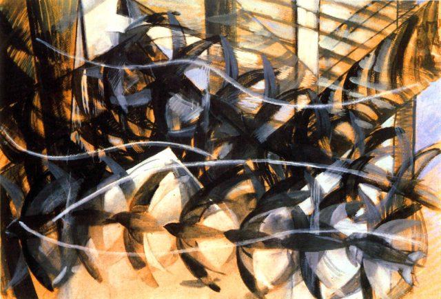 """""""El vuelo de golondrinas"""" (1913), témpera sobre papel, de Giacomo Balla, en el MoMA de Nueva York"""