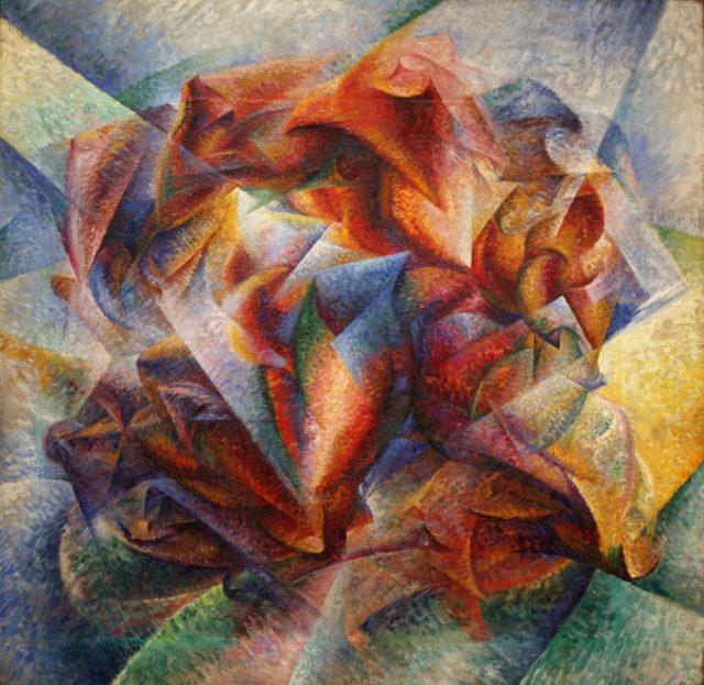 """""""Dinamismo de un jugador de fútbol"""" (1913), óleo sobre lienzo, de Umberto Boccioni, en el MoMA de Nueva York"""
