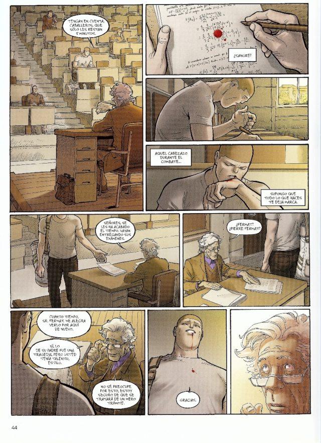 """Una de las páginas finales del primer volumen, """"Pierre"""", del cómic """"Ken Games"""", en el que se le ve realizando, de nuevo, un examen de matemáticas en la facultad"""