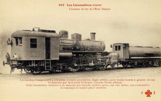 Postal con la Locomotora 6943 de los Ferrocarriles del Estado Italiano, construida por la empresa italiana Breda