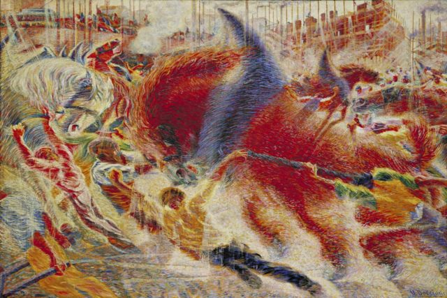 """""""La ciudad se levanta"""" (1910), óleo sobre lienzo, de Umberto Boccioni, en el MoMA de Nueva York"""