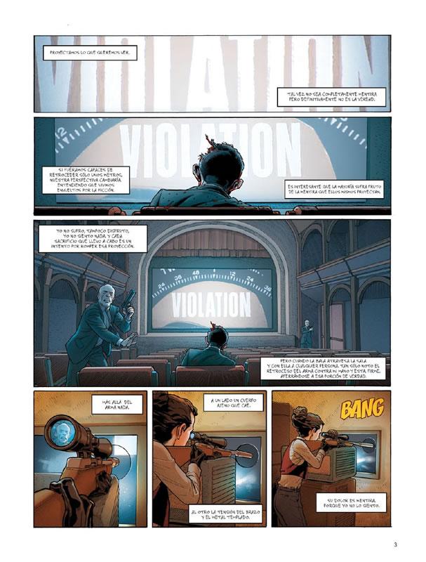 """Una de las páginas iniciales del tercer volumen, """"Ciseaux"""", del cómic """"Ken Games"""""""