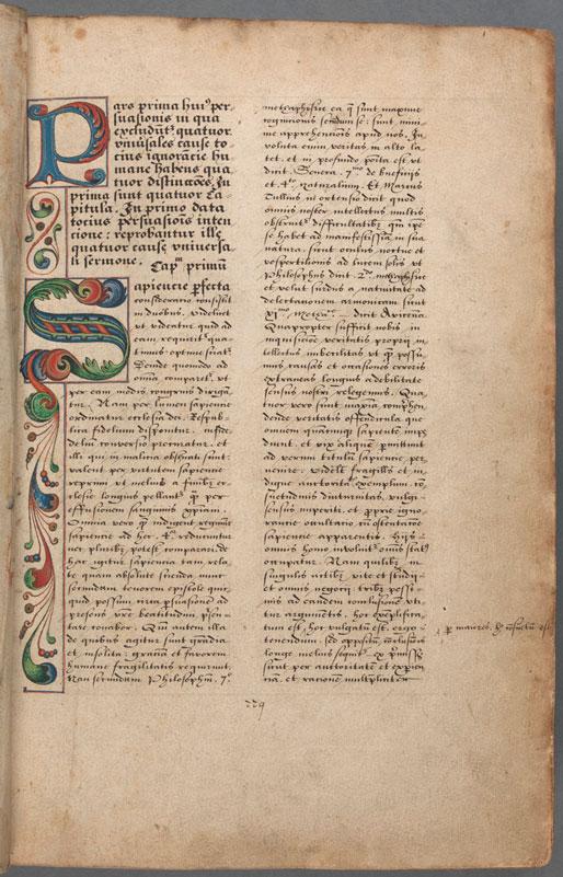 """Página de la copia del """"Opus maius"""" que se conserva en Trinity College Dublin"""