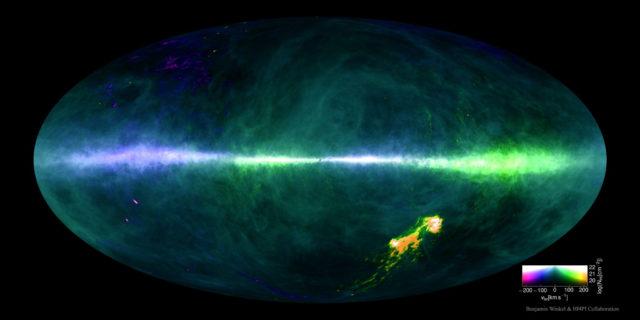 """Mapa de todo el cielo observando en la línea de 21 cm del hidrógeno atómico, HI, mostrando la emisión de gas neutro de nuestra Galaxia y las Nubes de Magallanes y la velocidad con la que lo vemos moverse (en color). Esta fantástica imagen ha sido conseguida en la colaboración HI 4π survey (HI4PI), que usa datos obtenidos con el cartografiado Effelsberg-Bonn HI Survey (EBHIS), que usa el radiotelescopio Effelsberg (Alemania), de 100 metros de tamaño, y los datos del cartografiado Galactic All-Sky Survey (GASS), que usa """"The Dish"""", el radiotelescopio de Parkes (Australia), de 64 metros de tamaño. Crédito: Benjamin Winkel & the HI4PI Collaboration."""