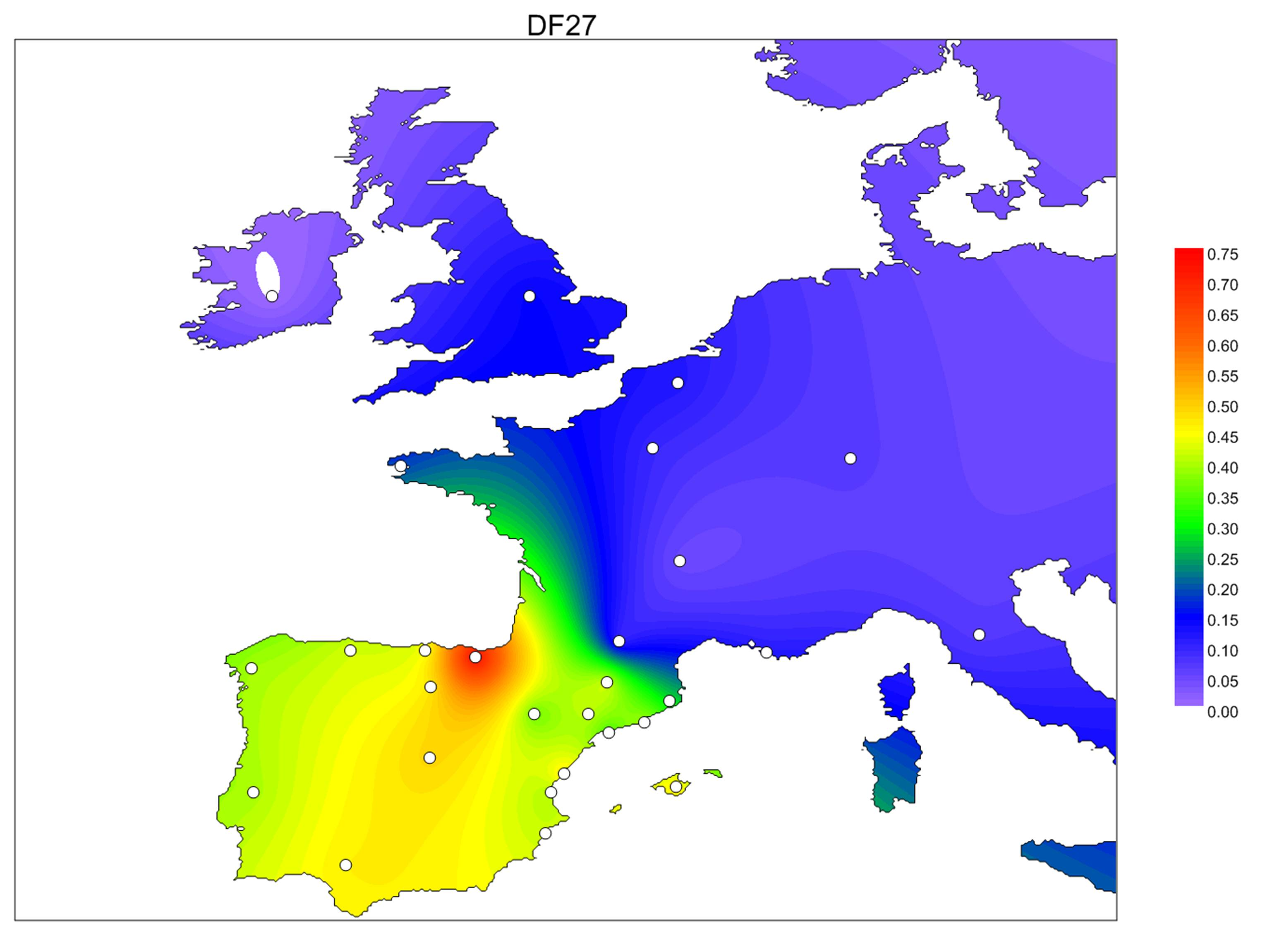 OS] Y-DNA haplogroup R1b-DF27 distribution all across