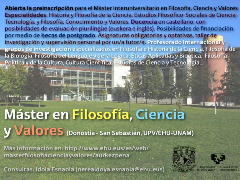 """""""Filosofía, Ciencia y Valores"""", el máster"""