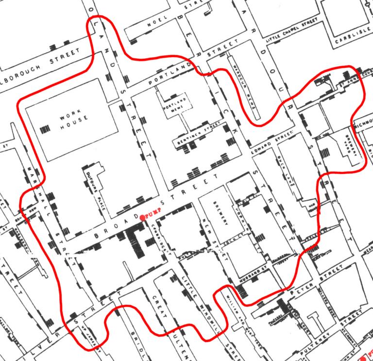 El mapa del cólera de John Snow